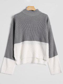 High Low Drop Shoulder Mock Neck Sweater - Gray