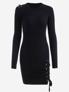 Mini Robe Bodycon à Lacets En Tricot - Noir
