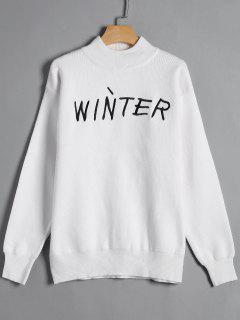 Winter Graphic High Neck Sweater - White