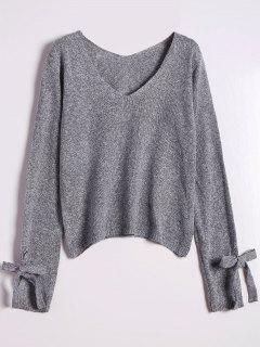 V Neck Bow Tied Sweater - Gray