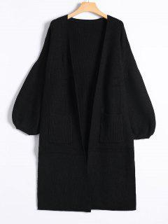 Slit Lantern Sleeve Long Knit Cardigan - Black