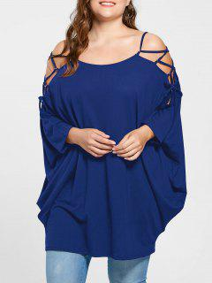 Plus Size Open Shoulder Baggy Top - Blue 5xl