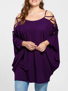 Plus Size Open Shoulder Baggy Top - Purple 5xl