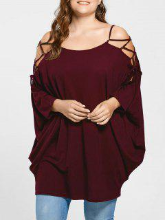 Plus Size Open Shoulder Baggy Top - Wine Red 2xl