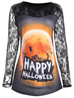 Plus Size Happy Halloween Moon Lace Insert T-shirt - Orange 5xl