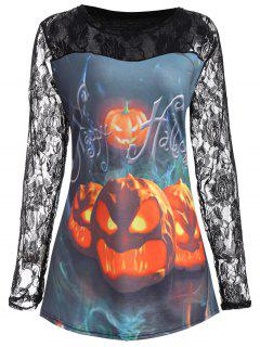 Plus Size Lace Panel Halloween Pumpkin T-shirt - Light Blue 5xl