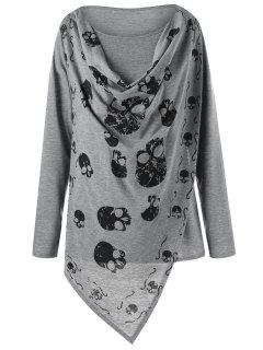 Plus Size Skulls Overlap T-shirt - Gray 5xl