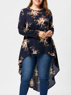 Plus Size Tiny Floral High Low Hem Blouse - Cadetblue 5xl