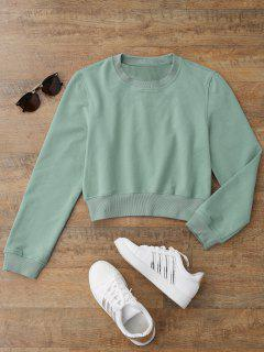 Crew Neck Casual Cropped Sweatshirt - Light Green M