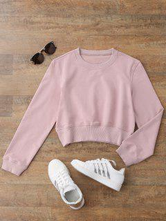Crew Neck Casual Cropped Sweatshirt - Shallow Pink L