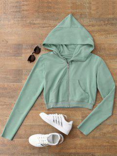 Zip Up Cropped Sweatshirt - Light Green S