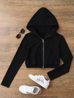 Zip Up Cropped Sweatshirt - Black M