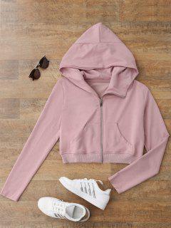 Zip Up Cropped Sweatshirt - Shallow Pink L