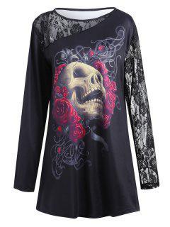Lace Insert Floral Skull Halloween Plus Size T-shirt - Black 4xl