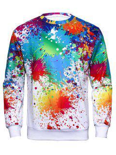 Crew Neck Colorful Splatter Paint Print Sweatshirt - L