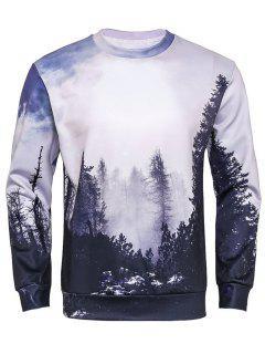 Crew Neck 3D Forest Print Sweatshirt - M
