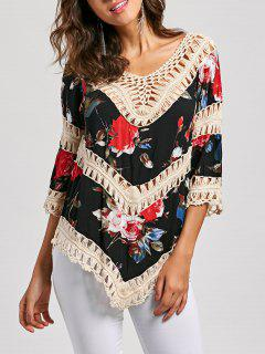 Floral Crochet Panel V Neck Top - Apricot