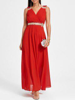 Bejeweled Crossover Prom Dress - Red Xl