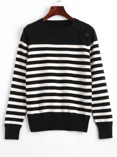Loose Buttoned Stripes Sweater - White And Black S