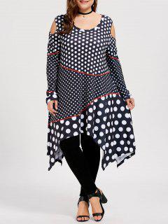 Polka Dot Plus Size Open Shoulder Top - Black 2xl