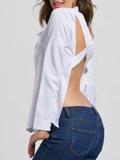 Cross Open Back Button Up Shirt - White Xl