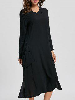 Side Pockets Tea Length Slit Dress - Black Xl