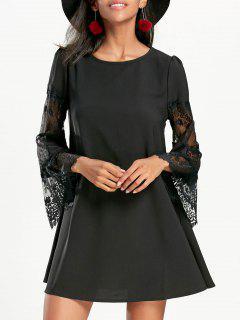 Lace Insert Flare Sleeve Swing Dress - Black L