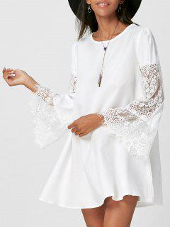 Lace Insert Flare Sleeve Swing Dress - White S