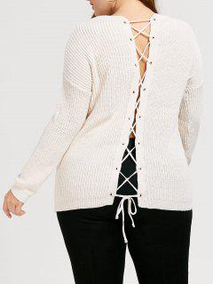 Back Lace Up Chunky Plus Size Sweater - White