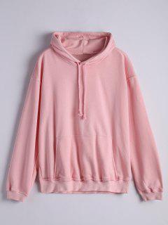 Kangaroo Pocket Drawstring Hoodie - Pink L
