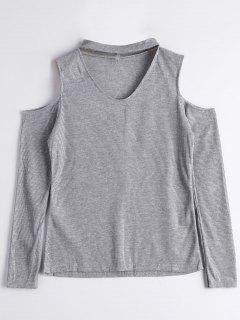 Knitted Cold Shoulder Choker Top - Gray L