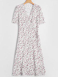 Polka Dot Overlay Wrap Dress - White S