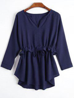 Notched Collar Ruffle Hem Drawstring Blouse - Deep Blue L