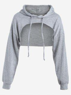 Cut Out Drawstring Crop Hoodie - Gray M
