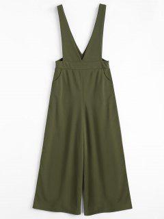 Plunge Suspender Wide Leg Jumpsuit - Army Green S