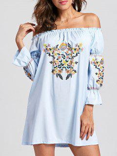 Off Shoulder Ruffle Flare Sleeve Dress - Light Blue L