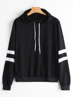 Casual Stripes Panel Hoodie - Black L