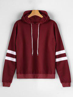Casual Stripes Panel Hoodie - Wine Red L