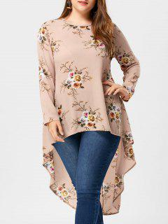 Plus Size Tiny Floral High Low Hem Bluse - Aprikose 4xl