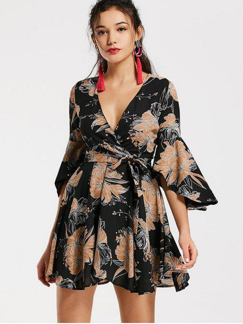 lady Belted Flare Sleeve Floral Surplice Dress - BLACK S Mobile