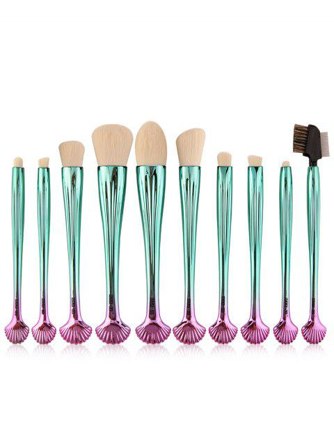outfit 10Pcs Gradient Color Multifunction Ocean Shell Brushes Set - WHITE AND GREEN  Mobile