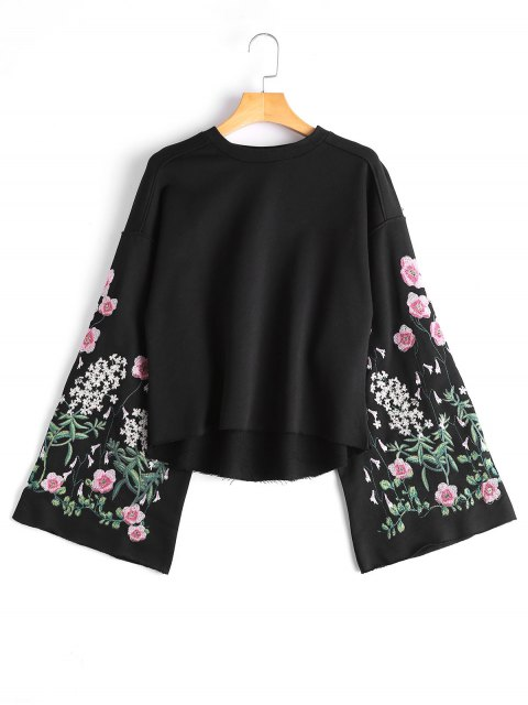 online Flare Sleeve Floral Embroidered Sweatshirt - BLACK M Mobile