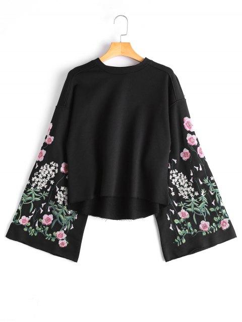Sweatshirt mit Flare Hülse und Blumenstickerei - Schwarz M Mobile