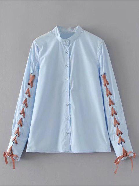 El botón abajo ata para arriba la camisa - Azul Claro S Mobile