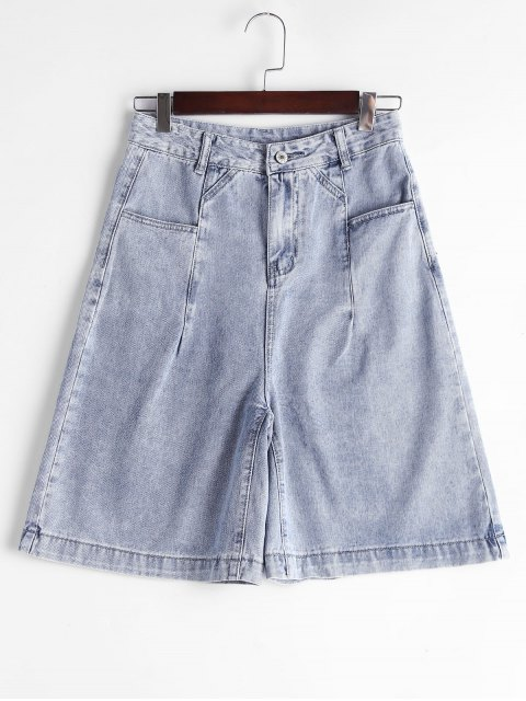 Fifth High Waisted Denim Shorts - Denim Blue L Mobile