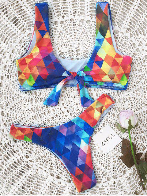 Ensemble Bikini Paddé Noué à Motif Losangé - Bleu M Mobile