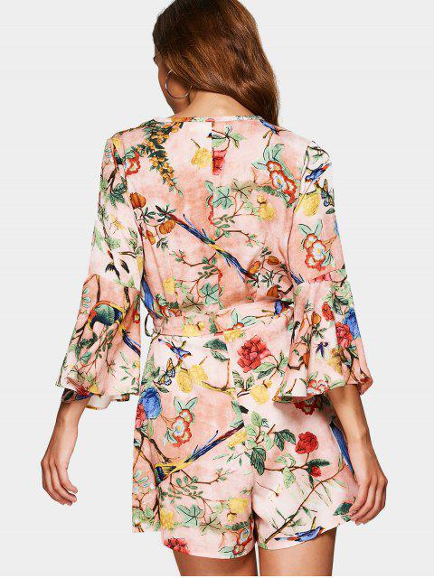 outfit Flare Sleeve Floral Print Belted Romper - FLORAL XL Mobile