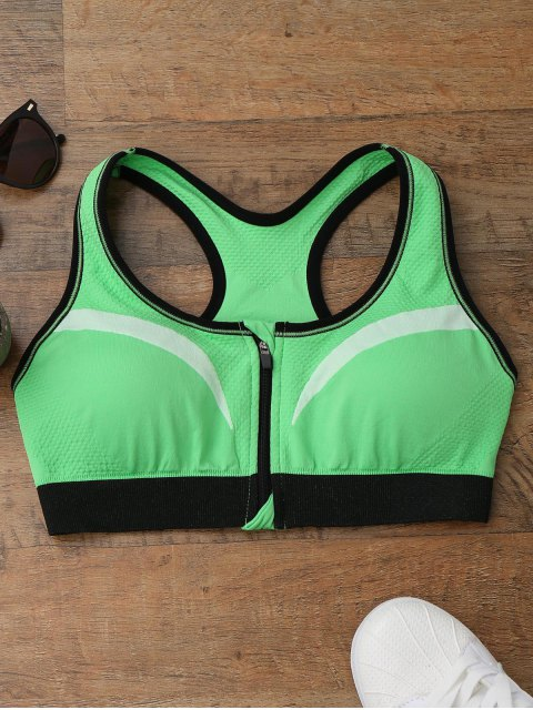 chic Racerback Front Zip Sports Bra - GREEN M Mobile