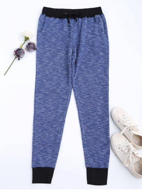 hot Heathered Knit Sweatpants - BLUE XL Mobile