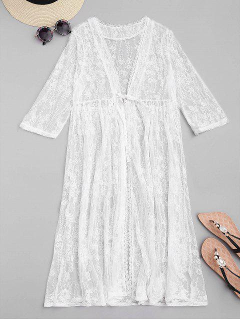 buy Sheer Embroidered Mesh Cover-up - WHITE ONE SIZE Mobile